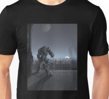 Future City - Robot Sentinel at Moon Rise Unisex T-Shirt