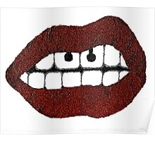 Glitter Red Lips with Piercing Poster