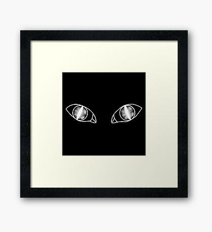Cat Eyes - Black to White (White) Framed Print