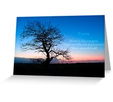 Winter Evening Haiku - a stark tree against a cold winter sky with a haiku Greeting Card