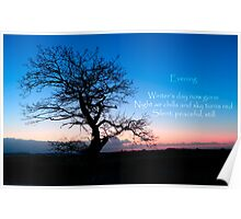 Winter Evening Haiku - a stark tree against a cold winter sky with a haiku Poster