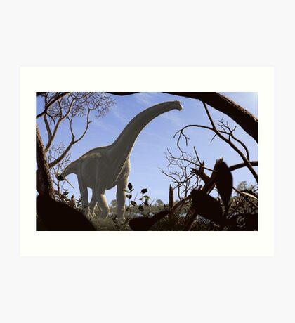 Futalognkosaurus dukei, a Cretaceous sauropod dinosaur Art Print