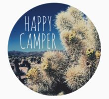 Happy Camper Cactus Nature Boho Flower Desert Typography Print by Big Kidult