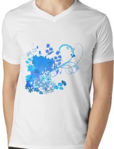 Blue spring Mens V-Neck T-Shirt