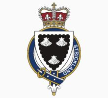 Coat of arms (family crest) for last-name or surname Strickland (England) . Heraldry banner for your name. Kids Clothes