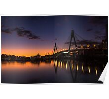 Anzac Bridge Sunset Poster