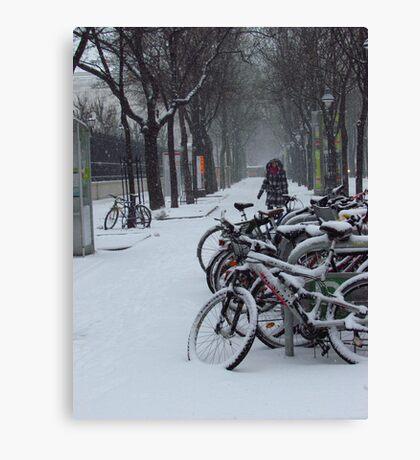 Vienna - Bikes in the snow Canvas Print