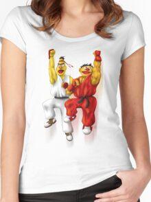 Sesame Street Fighter: Beryu & Kernie Women's Fitted Scoop T-Shirt