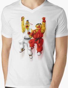 Sesame Street Fighter: Beryu & Kernie Mens V-Neck T-Shirt