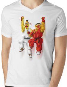 Sesame Street Fighter: Beryu & Kernie Mens V-Neck T-Shirt