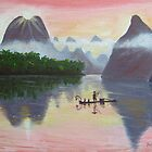 The beautiful Li River - Guillin, China by Faye Doherty
