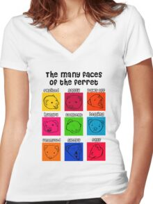 The Many Faces of the Ferret Women's Fitted V-Neck T-Shirt