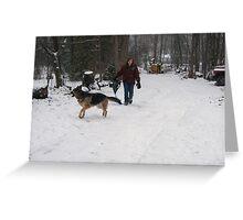 Molly and Beagle Sledding Greeting Card