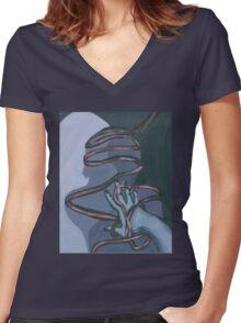Fallen ribbon shadows Women's Fitted V-Neck T-Shirt