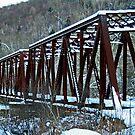 Snow Covered Railroad Bridge at Petroleum Center by Geno Rugh