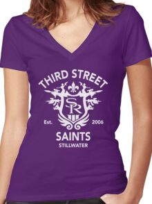 Saints Row 3 Tribute Distressed White Women's Fitted V-Neck T-Shirt