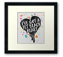 Jet Black Heart (paint splattered) Framed Print