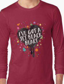 Jet Black Heart (paint splattered) Long Sleeve T-Shirt