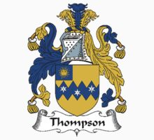 Coat of arms (family crest) for last-name or surname Thompson II . Heraldry banner for your name. Kids Clothes