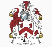 Coat of arms (family crest) for last-name or surname Tilney . Heraldry banner for your name. Kids Clothes