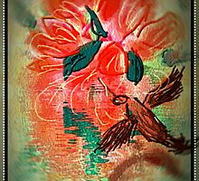 humming bird finds flowers close te water by Anna  Lewis