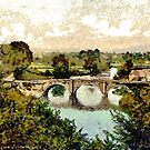 A digital painting of  Dinham Bridge, Ludlow, England early 19th century by Dennis Melling