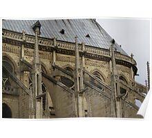 the famous flying buttresses of Notre Dame de Paris, detail Poster