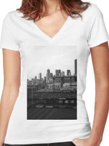 Safeco Field Black and White Women's Fitted V-Neck T-Shirt