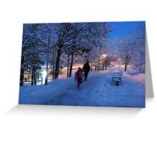 On Their Way Home One Winter Afternoon Greeting Card
