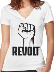 Revolt Clenched Fist Revolution T Shirt Women's Fitted V-Neck T-Shirt