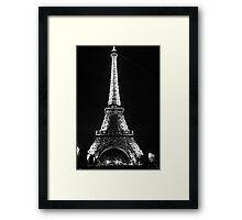 Eiffel Tower Lit Up - Black & White Framed Print