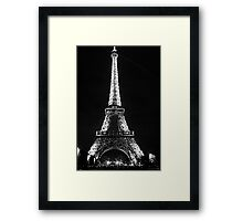 Eiffel Tower Lit Up - Black & White Framed Print
