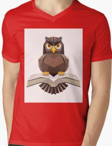 Vector, Brown Owl fly with the book Mens V-Neck T-Shirt