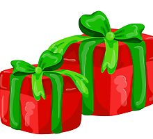 A red gift with a  green ribbon and a bow by lisenok