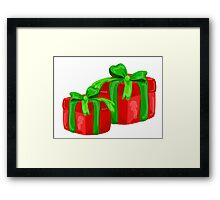 A red gift with a  green ribbon and a bow Framed Print