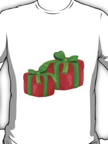 A red gift with a  green ribbon and a bow T-Shirt
