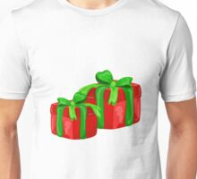 A red gift with a  green ribbon and a bow Unisex T-Shirt