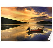 Red boat,Blue sky,Yellow Clouds. Poster