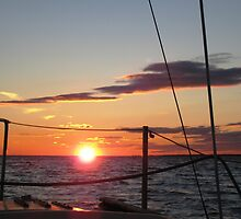 Autumn sunset off the starboard bow  by chipster