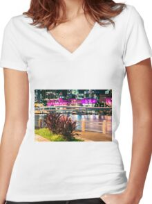 View of Brisbane City at night Women's Fitted V-Neck T-Shirt