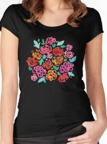 Peony & Roses on Black Women's Fitted Scoop T-Shirt