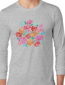 Peony & Roses on Black Long Sleeve T-Shirt