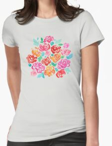 Peony & Roses on Black T-Shirt