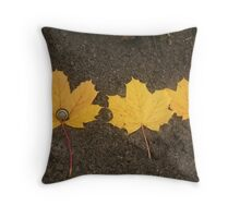Three Yellow Leaves with Snail Throw Pillow