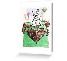 A love heart diggin' dog Greeting Card