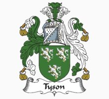 Coat of arms (family crest) for last-name or surname Tyson . Heraldry banner for your name. T-Shirt
