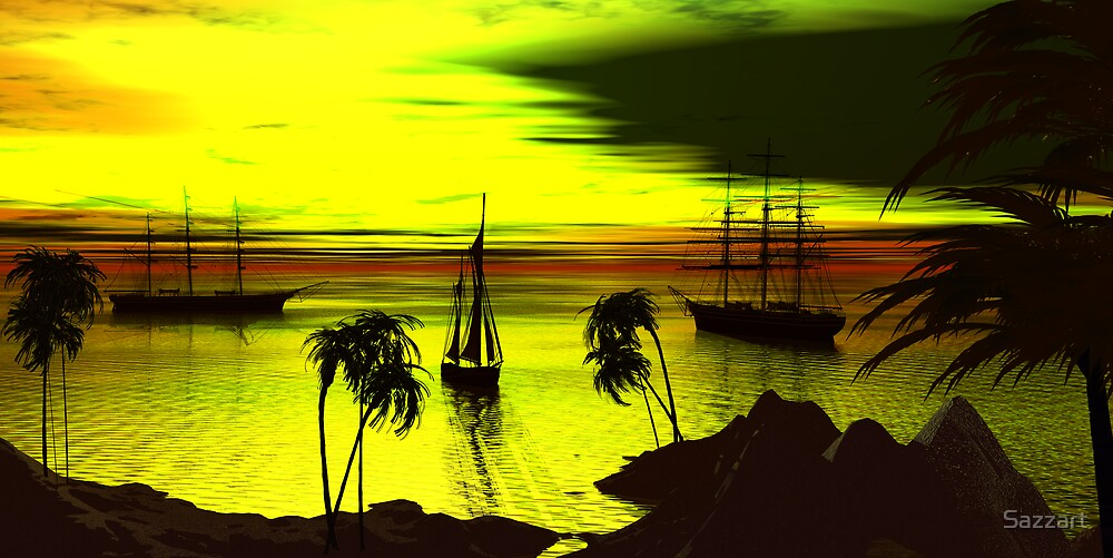 Anchorage on a Heartbreak Cove Sunset by Sazzart
