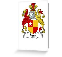 Coat of arms (family crest) for last-name or surname Vere . Heraldry banner for your name. Greeting Card