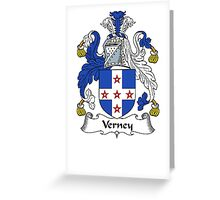 Coat of arms (family crest) for last-name or surname Verney . Heraldry banner for your name. Greeting Card