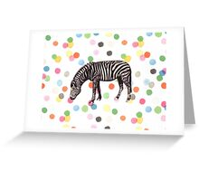Vintage zebra on confetti background Greeting Card